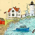 Cape Neddick Lighthouse Me Nautical Chart Map Art Cathy Peek by Cathy Peek
