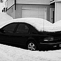 car buried in snow outside house in honningsvag norway europe Print by Joe Fox