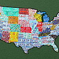 Car Tag Number Plate Art Usa On Green by Design Turnpike