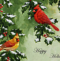 Cardinals Holiday Card - Version With Snow by Crista Forest