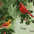Cardinals Holiday Card - Version Without Snow by Crista Forest