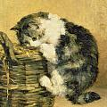 Cat With A Basket by Charles Van Den Eycken