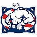 Champion American Boxer Akimbo Retro by Aloysius Patrimonio