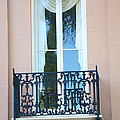 Charleston Pink White Architecture - Charleston Historical District French Quarter Window Balcony by Kathy Fornal