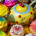 Cherry Teapot And Cupcakes by Garry Gay