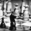 Chess Game in black and white Print by Paul Ward