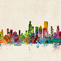 Chicago City Skyline Print by Michael Tompsett