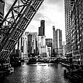 Chicago Kinzie Street Bridge Black and White Picture Print by Paul Velgos