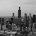 Chicago Looking West 01 Black And White by Thomas Woolworth