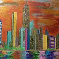 Chicago Metallic Skyline by Char Swift