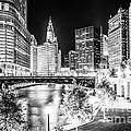 Chicago River Buildings At Night In Black And White by Paul Velgos