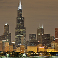 Chicago Skyline At Night by Sebastian Musial