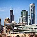 Chicago Skyline With Soldier Field And Sears Tower  by Paul Velgos
