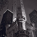 Chicago Water Tower Panorama B W by Steve Gadomski