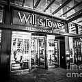 Chicago Willis-sears Tower Sign In Black And White by Paul Velgos