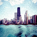 Chicago Windy City Digital Art Painting by Paul Velgos