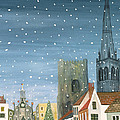 Chichester Cathedral A Snow Scene by Judy Joel