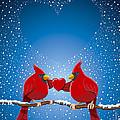 Christmas Red Cardinal Twig Snowing Heart Print by Frank Ramspott