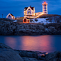 Christmas Time At Nubble Light. by Jeff Sinon
