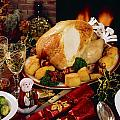 Christmas Turkey Dinner With Wine by The Irish Image Collection