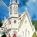 Church With Jet Contrail by Kip DeVore