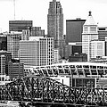 Cincinnati Skyline Black and White Picture Print by Paul Velgos