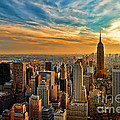 City Sunset New York City USA Print by Sabine Jacobs