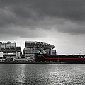Cleveland Browns Stadium From The Inner Harbor Poster by Kenneth Krolikowski