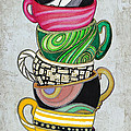 Colorful Coffee Cups Mugs Hot Cuppa Stacked II By Romi And Megan by Megan Duncanson