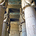 Columns in Temple of Hathor near Dendera in Qena-Egypt Print by Ruth Hager