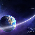Comet Moving Past Planet Earth by Johan Swanepoel