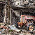 Comfortable Chaos - Old Tractor At Rest - Agricultural Machinary - Old Barn by Gary Heller