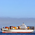 Container Ship At Sea by Olivier Le Queinec