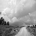 Country Road With Stormy Sky In Black And White by Julie Magers Soulen