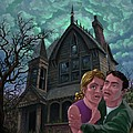 Couple Outside Haunted House by Martin Davey