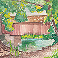 Covered Bridge Watercolor Print by Fred Jinkins