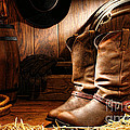 Cowboy Boots In A Ranch Barn by Olivier Le Queinec