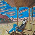 Cowboy Sitting In Chair At Sundown by John Lyes
