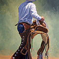 Cowboy With Saddle Print by Randy Follis