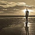 Crosby Beach Sepia Sunset by Paul Madden