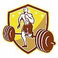Crossfit Athlete Runner Barbell Shield Retro by Aloysius Patrimonio