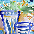 Cups And Flowers-  Watercolor Floral Painting by Linda Woods