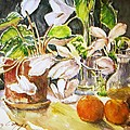 Cyclamen With Tangerines And Kiwi by Vivian  Castillo M