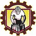 Cyclist Riding Bicycle Cycling Front Sprocket Retro Print by Aloysius Patrimonio