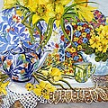 Daffodils Antique Jugs Plates Textiles And Lace by Joan Thewsey