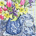 Daffodils Tulips And Irises With Blue Antique Pots  by Joan Thewsey