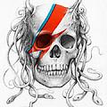 David Bowie Aladdin Sane Medusa Skull Print by Olga Shvartsur