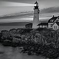 Dawn At Portland Head Light BW Print by Susan Candelario