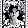Dcla Al Kaline Detroit All-stars Finest Stamp Art by David Cook Los Angeles