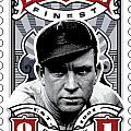 Dcla Tris Speaker Fenway's Finest Stamp Art by David Cook Los Angeles